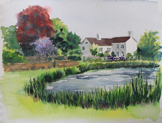 Boughton pond watercolour