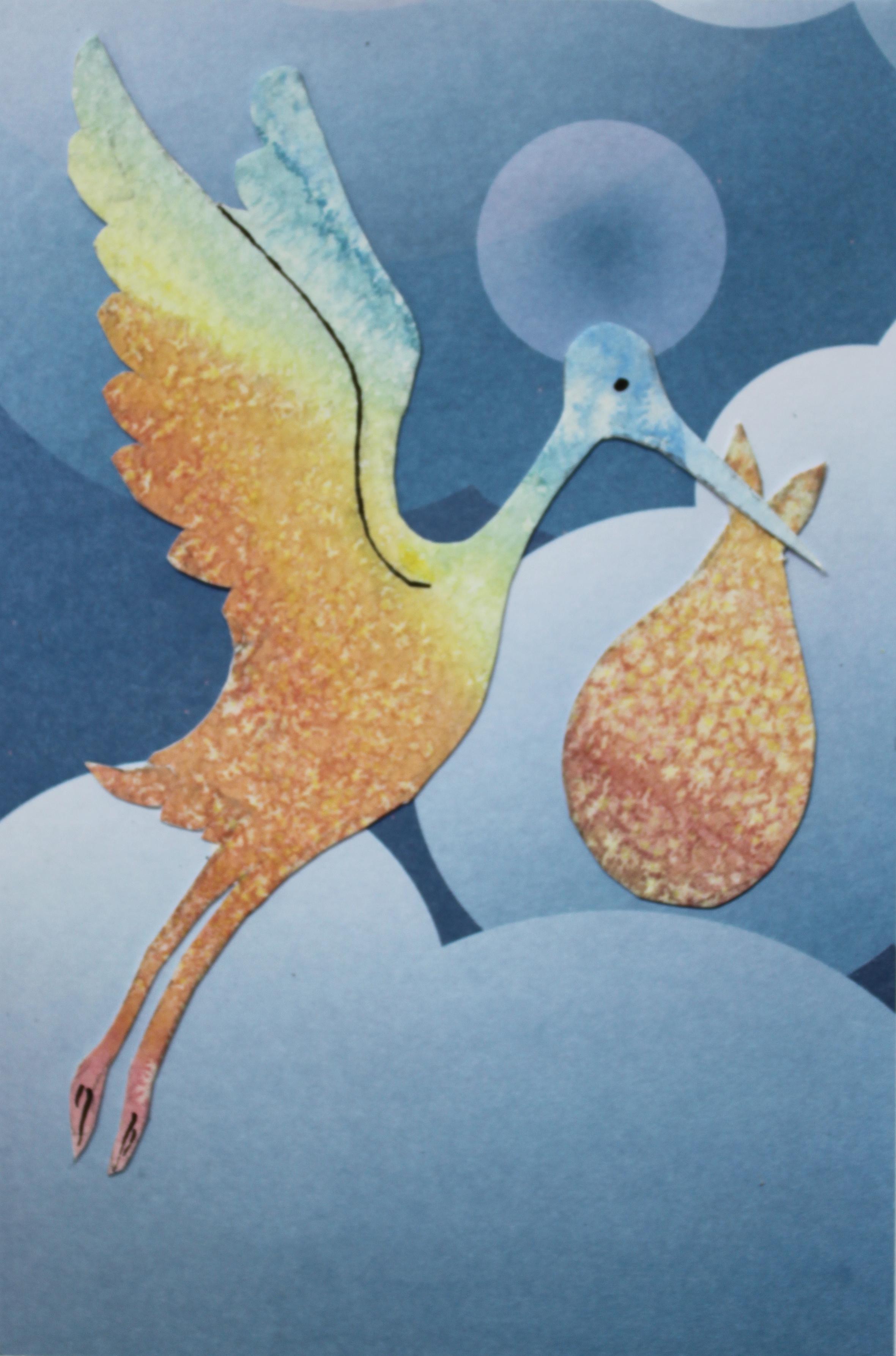 Stork watercolour card