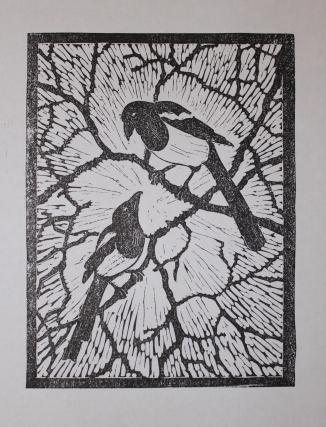 Magpies lino